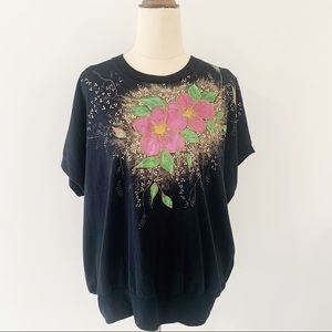 Puff Paint Short Sleeve Floral Top